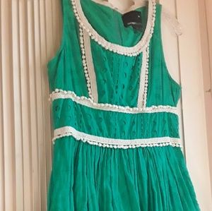 Green Boho lace trim Midi dress Forever21 Sz 6